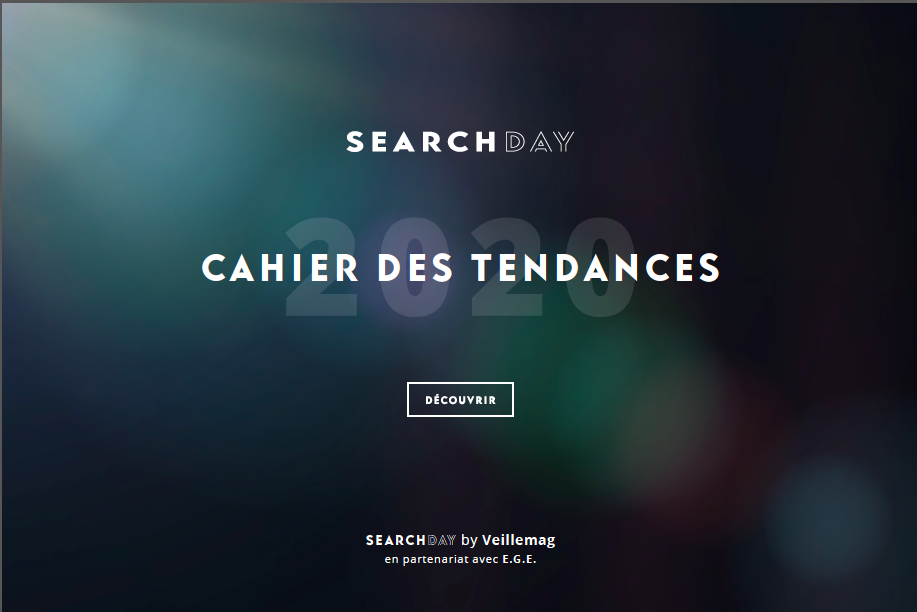 Le Cahier des Tendances Search-day.com 2020. 14 oct. Présentiel EGE 196 rue de Grenelle 75007 Paris