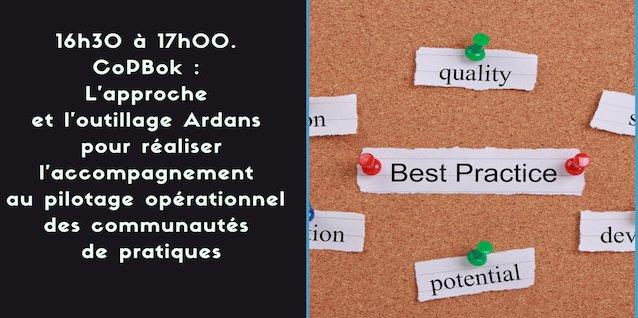 16h30 à 17h00.CoPBok : L'approche et l'outillage Ardans pour guider opérationnellement  les communautés de pratiques