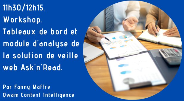 11h30/12h15. Workshop. Tableaux de bord et module d'analyse de la solution de veille web Ask'n'Read.
