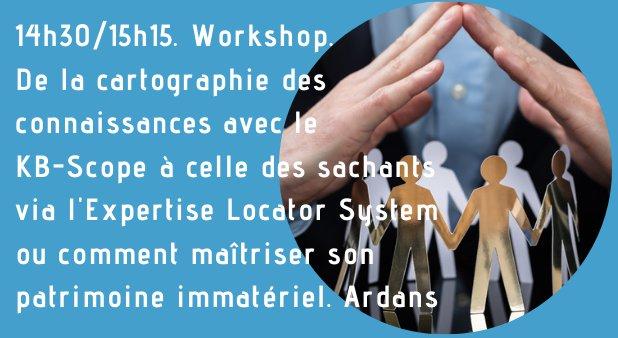 14h30/15h15. Workshop. De la cartographie des connaissances avec le KB-Scope à celle des sachants via l'Expertise Locator System ou comment maîtriser son patrimoine immatériel